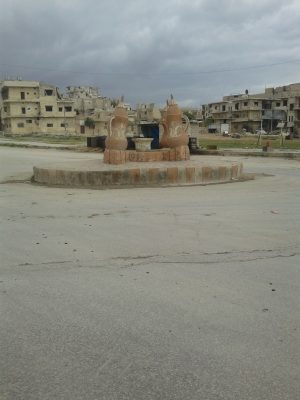 Al-Dala square in Maarrat al-Nu'man city where killing and kidnapping are frequent . Photo by : Dareen Hassan