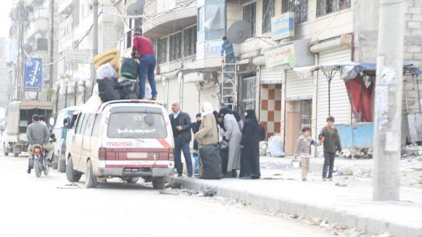A family displaced due to the bombing campaign on Aleppo, al-Firdaous neighbourhood. Photo by : Hussam Kuifatia