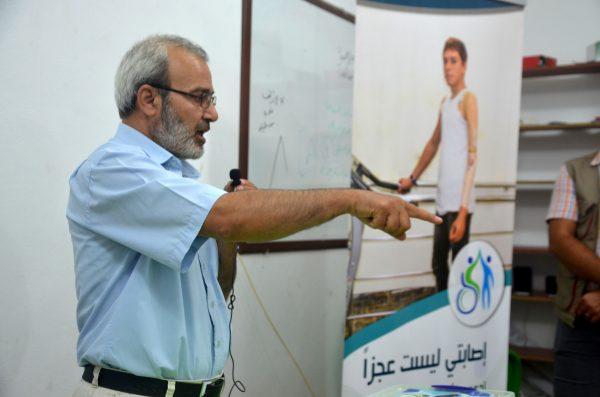 من محاضرة الدكتور محمد صهيب مزنوق ضمن حملة إصابتي ليست عجزاً تصوير أبو عمر الحلبي